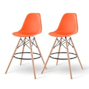IRIS® Plastic Shell Bar Stool, 2 Pack, Orange (586752)