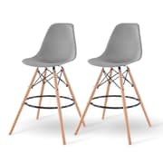 IRIS® Plastic Shell Bar Stool, 2 Pack, Gray (586755)