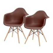 IRIS® Plastic Shell Chair With Arm Rest, 2 Pack, Brown (586719)