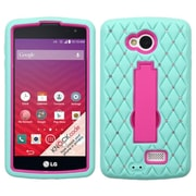 Insten Symbiosis Skin Hybrid Rubber Hard Case with Stand/Diamond For LG Optimus F60 - Teal Green/Hot Pink