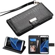 Insten Flip Leather Crocodile Skin Case Lanyard w/stand/card holder/Photo Display For Samsung Galaxy S7 Edge - Black
