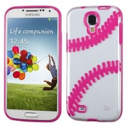 Insten Clear/Solid Hot Pink Baseball Gummy Case For SAMSUNG Galaxy S4 IV I9500