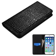 Insten Folio Leather Crocodile Skin Cover Case w/card holder For Apple iPhone 6 / 6s - Black