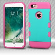 Insten Rubberized Teal Green/Electric Pink TUFF Trooper Hybrid Dual Layer Case Cover for Apple iPhone 7