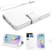 Insten Book-Style Leather Fabric Cover Case Lanyard w/stand/card holder For Samsung Galaxy S6 - White