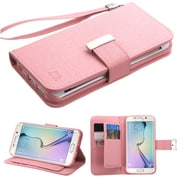 Insten Flip Leather Fabric Cover Case Lanyard w/stand/card holder/Photo Display For Samsung Galaxy S6 Edge - Pink