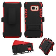 Insten Hard Dual Layer Rubber Coated Silicone Cover Case w/stand/Holster For Samsung Galaxy S7 Edge - Black/Red