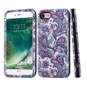 Insten European Flowers Hard Hybrid 3-Layer Case For Apple iPhone 7 - Purple/White
