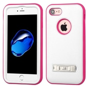 Insten Ultra Slim Hybrid 3-Layer Shockproof Kickstand Case For Apple iPhone 7 - White/Pink