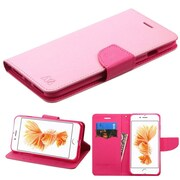 Insten Book-Style Leather Case with stand & card slot For Apple iPhone 7 Plus - Pink