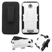 Insten Car Armor Hard Hybrid Plastic Silicone Case w/Holster For HTC Desire 510 - White/Black
