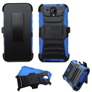 Insten Hard Hybrid Rugged Shockproof Plastic Silicone Cover Case w/Holster For HTC Desire 520 - Black/Blue