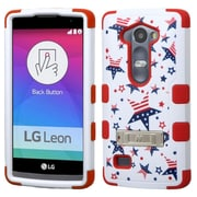 Insten Tuff Patriotic Stars Hard Dual Layer Rubber Coated Silicone Case w/stand For LG Leon/Tribute 2 - Red/White