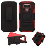 Insten Hard Hybrid Plastic Silicone Stand with Holster For LG G5 - Black/Red