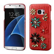 Insten Flowers Leather 3D Fabric Hard Case w/Diamond For Samsung Galaxy S7 Edge - Red