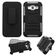 Insten Hard Dual Layer Plastic Silicone Case w/Holster For Samsung Galaxy Amp Prime / J3 (2016) - Black/Gray