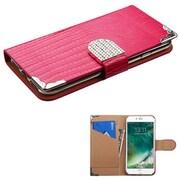 Insten Hot Pink Crocodile Skin Wallet Leather Flip Case for Apple iPhone 7 (with Metal Diamonds Buckle)