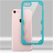 Insten Ultra Protective Crystal Clear Hard Back Panel Case with Soft Rubber Bumper For iPhone 7 - Clear/Blue