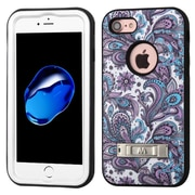 Insten Verge European Flowers Hard Hybrid Silicone Cover Case For Apple iPhone 7 - Purple/White