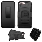Insten Hard Dual Layer Hybrid Case with Holster Belt Clip Kickstand For iPhone 7 Plus - Black