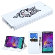 Insten Owl Folio Leather Fabric Case w/stand/card holder For Samsung Galaxy Note 4 - White/Black