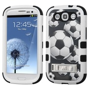 Insten Tuff Soccer Ball Collage Hard Hybrid Rubberized Silicone Cover Case w/stand For Samsung Galaxy S3 - Black/White