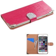 "Insten Leather Crocodile Skin Cover Case w/card holder/Diamond For Apple iPhone 6 Plus 5.5"" - Pink/Silver"