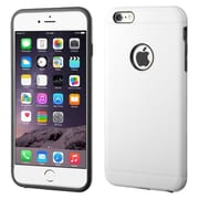 Insten Hard Hybrid Rubber Coated Silicone Cover Case w/Installed For Apple iPhone 6 Plus - White