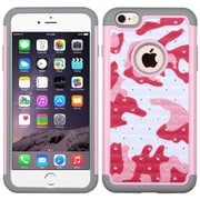 Insten Camouflage Hard Dual Layer Rubber Coated Silicone Case w/Diamond For Apple iPhone 6 Plus/6s Plus - Hot Pink/White