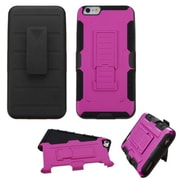 Insten Car Armor Hard Dual Layer Plastic Silicone Cover Case w/Holster For Apple iPhone 6/6s - Hot Pink/Black