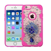 Insten Luxury Peacock 3D Crystal Diamond Bling Diamante Hard Case Cover for iPhone 6s 6 - Clear/Hot Pink