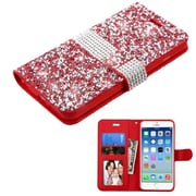 Insten Flip Leather Rhinestone Case w/card slot/Photo Display For Apple iPhone 6 / 6s - Red/Silver
