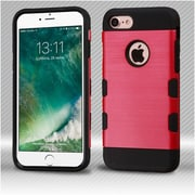 Insten Red/Black Brushed TUFF Trooper Hybrid Dual Layer Case Cover for Apple iPhone 7