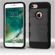Insten Black/Black Brushed TUFF Trooper Hybrid Dual Layer Case Cover for Apple iPhone 7