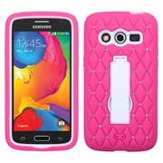 Insten Symbiosis Soft Hybrid Rubber Hard Case with Stand/Diamond For Samsung Galaxy Avant - Hot Pink/White