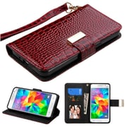 Insten Flip Leather Crocodile Skin Cover Case Lanyard w/stand/card slot For Samsung Galaxy Grand Prime - Burgundy