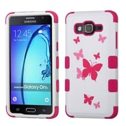 Insten Tuff Butterfly Dancing Hybrid 3-Layer Silicon Hard Case Cover For Samsung Galaxy On5 - Pink/White