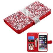 Insten Leather Wallet Diamond Case with card slot For iPhone 6s Plus / 6 Plus - Red/Silver