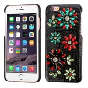 Insten Flowers Leather 3D Fabric Hard Cover Case w/Diamond For Apple iPhone 6s Plus / 6 Plus - Black/Colorful