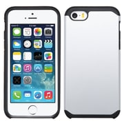 Insten Hard Hybrid Rugged Shockproof Silicone Case For Apple iPhone SE 5S 5 - Silver/Black