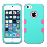Insten Hard Hybrid Rubberized Silicone Cover Case For Apple iPhone SE / 5/ 5S - Teal/Pink