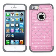 Insten Hard Hybrid Rubber Silicone Case w/Diamond For Apple iPhone SE / 5 / 5S - Pink/Gray