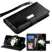 Insten Flip Leather Crocodile Skin Case Lanyard w/stand/card holder/Photo Display For LG Escape 3 / K7 / K8 - Black