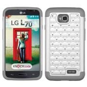 Insten Hard Hybrid Rubber Cover Case For LG Optimus Exceed 2 VS450PP Verizon/Optimus L70 MS323/Realm LS620 - White/Gray