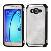 Insten Hybrid 2in1 Soft TPU Hard Plastic Leather Backing Case For Samsung Galaxy On5 - Silver/Black