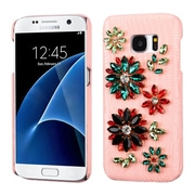 Insten Flowers Leather 3D Fabric Hard Cover Case w/Diamond For Samsung Galaxy S7 - Pink