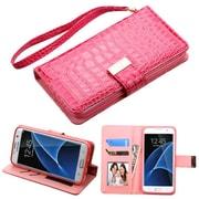 Insten Flip Leather Crocodile Skin Case Lanyard w/stand/card holder/Photo Display For Samsung Galaxy S7 Edge - Hot Pink
