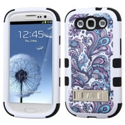 Insten Tuff European Flowers Hard Hybrid Rubberized Silicone Cover Case w/stand For Samsung Galaxy S3 - Purple/White