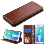 Insten Book-Style Leather Fabric Case w/stand For Samsung Galaxy S6 Edge Plus - Brown