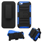 Insten Hard Dual Layer Plastic Silicone Case w/Holster For Apple iPhone SE / 5 / 5S - Black/Blue